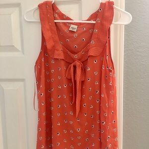 LC for Disney Coral Sleeveless Blouse with Hearts